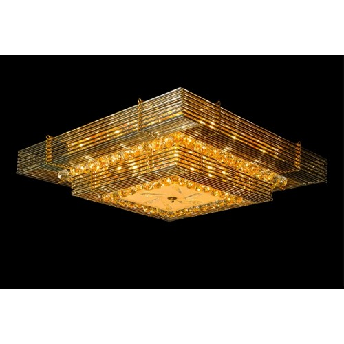 Tiered Square Glass and Crystal Gold Chandelier with 28 LED Bulbs