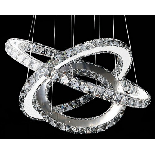 Three Crystal Ring Hanging Light with In-built LED