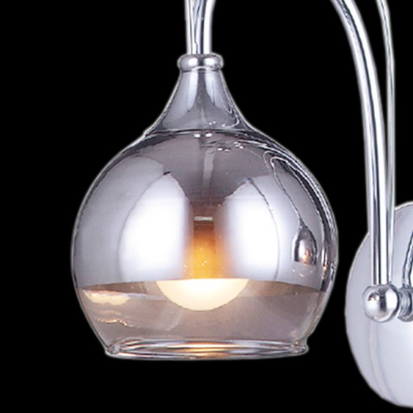 Grey Glass Wall Lights : Shiny Tinted Grey Glass Wall Lamp - Lightosphere