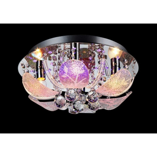Crystal Floral Petals Close-to-ceiling Light with In-built LED and Remote