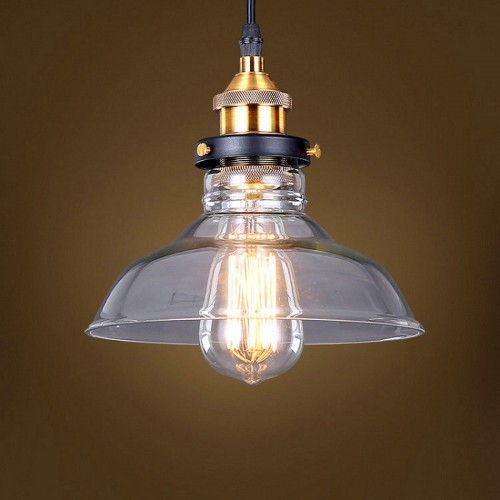 Transparent Industrial Mini Pendant Light with LED Filament Bulb