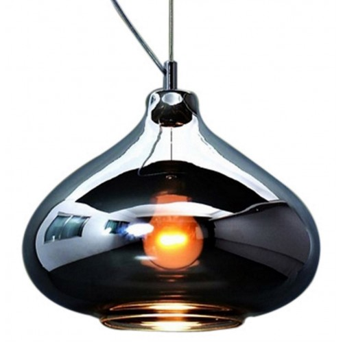 Black Glass Dome Large Pendant Light with LED Bulb