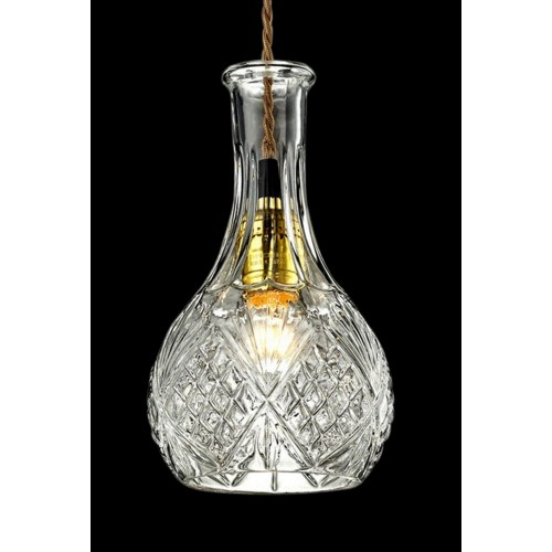 Etched Clear Glass Mini Pendant Light with LED Bulb