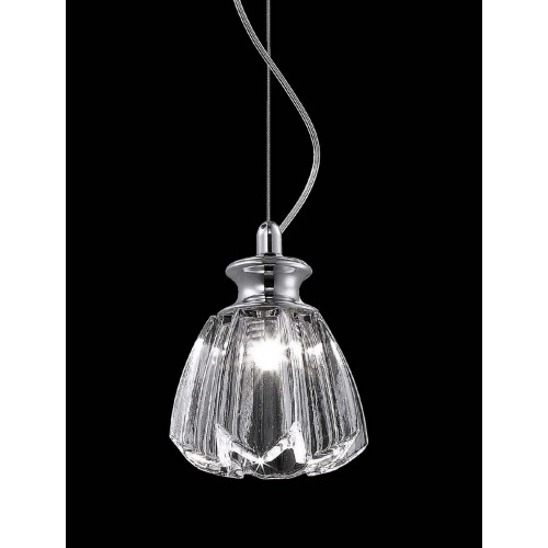 Tulip Shaped Carved Glass Mini Pendant Light with In-built LED