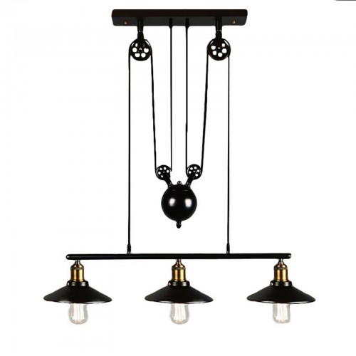 Retro Iron Pulley Row Pendant Light with LED Filament Bulbs