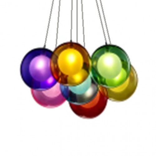 Rainbow Colour Balls Cluster Pendant Light with Bulbs