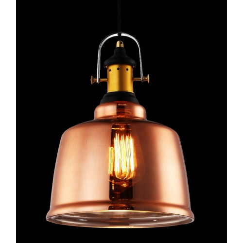 Industrial Copper Dome Large Pendant Light with LED Filament Bulb