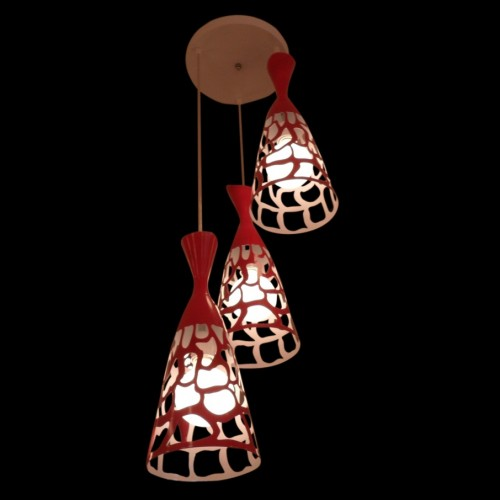 Attractive Red Geometric Patterned Cluster Pendant Light with LED Bulbs