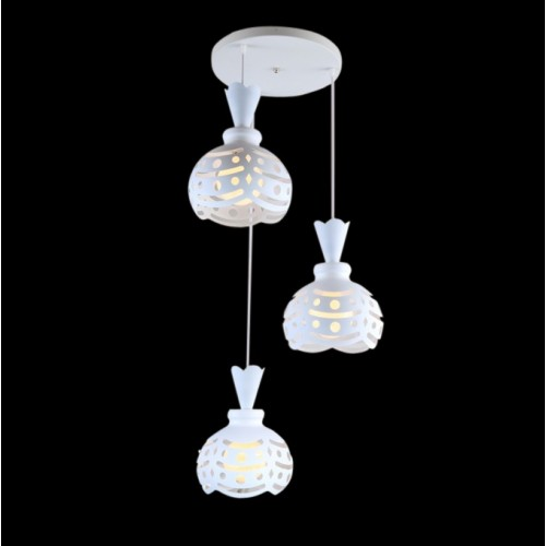 White Wind Chime Inspired Cluster Pendant Light with LED Bulbs