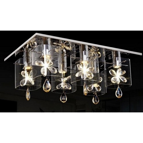 Rectangular Glass and Crystal Close-to-ceiling Light with In-built LED