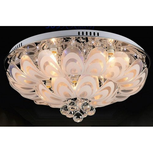 Flowery Crystal and Glass Close-to-ceiling Light with In-built Multi-colour LED