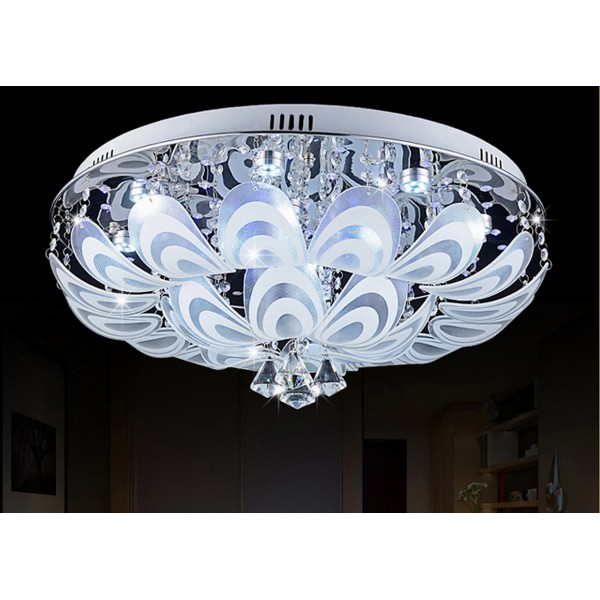 Built In Lights For Ceiling : Flowery crystal and glass close to ceiling light