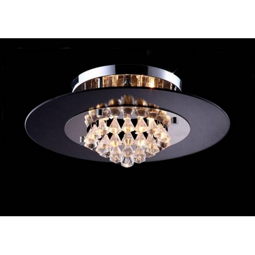 Circular Glass and Crystal Close-to-ceiling Light with Bulbs