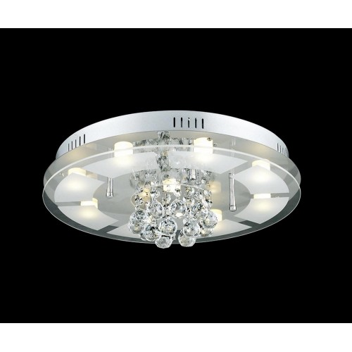 Glass and Crystal Close-to-ceiling Light with In-built LED