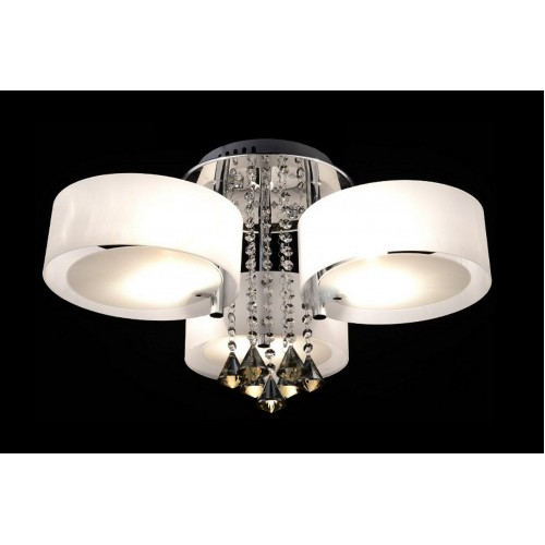 Frosted Glass, Bead and Crystal Close-to-ceiling Light with LED Bulbs