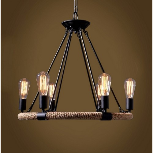 Hemp Rope Ring Cluster Pendant Light with LED Filament bulbs