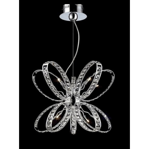 Butterfly Crystal Cluster Pendant Light with Bulbs