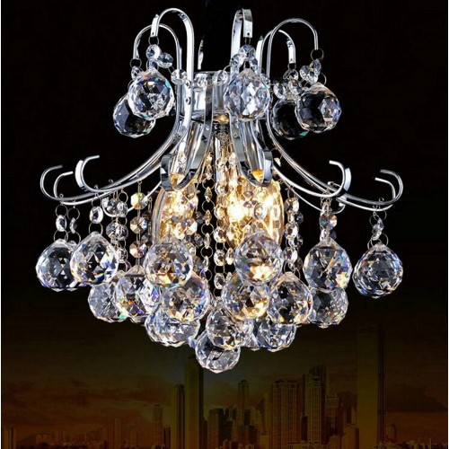 Tiered Crystal Decorative Chandelier with Chrome Arms with LED Bulbs