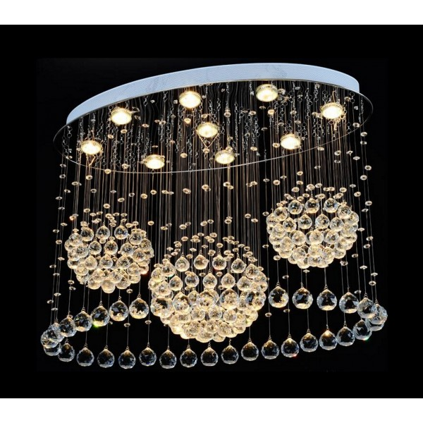 Crystal planets in universe hanging light chandelier