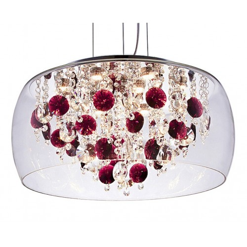 Wine Red Crystal and Glass Large Pendant Light