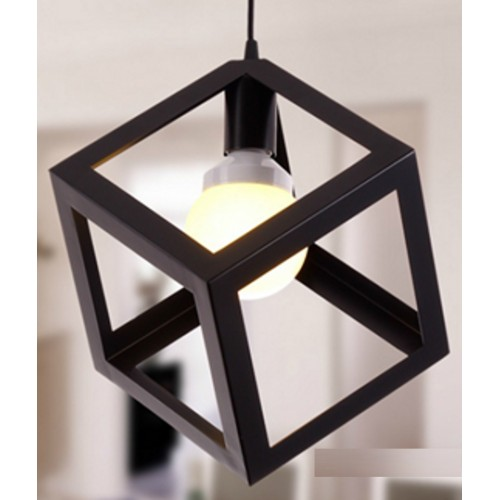 Metal Cube Mini Pendant Light with LED Filament Bulb