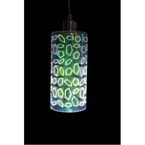 Cylindrical 3D Glass Mini Pendant Light with LED Bulb