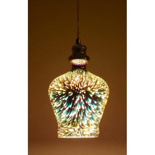 Artistic 3D Glass Mini Pendant Light with LED Bulb