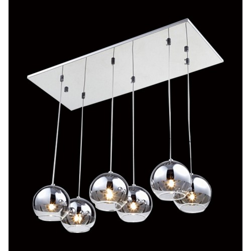 Six Tinted Glass Shades Row Pendant with LED Bulbs