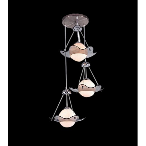 Tiered and Suspended Glass Shade Cluster Pendant Light