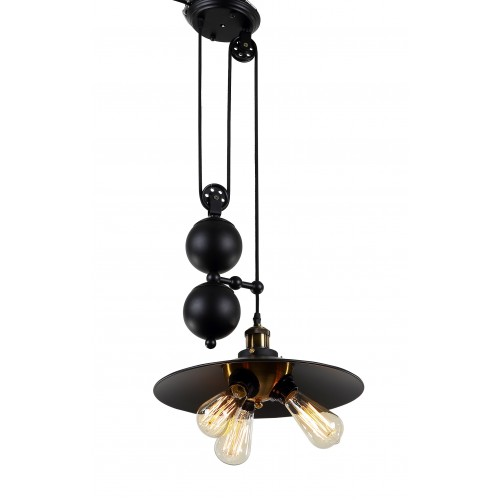Industrial Pulley Large Pendant Light with LED Filament Bulbs