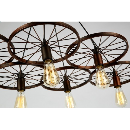 Industrial Six Wheel Cluster Pendant Light with LED Filament Bulbs